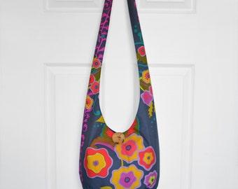 Hobo Bag Crossbody Bag Hippie Purse Sling Bag Hobo Purse Boho Bag Bohemian Purse Floral Hobo Bag Handmade Fabric Purse Slouchy Purse Floral