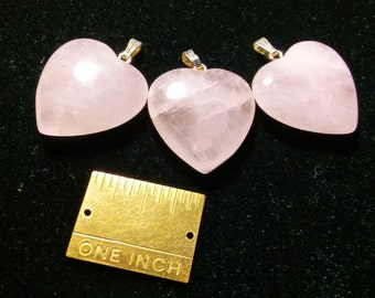 BBF(Before Black Friday) Rose Quartz Heart Shaped Pendants,24mm, 7mm thick,3 Pendants In This Listing, Including Silver Metal Bail, Valentin