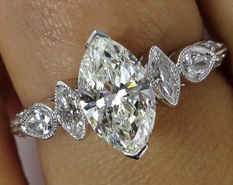 GIA 1.54ct Vintage MARQUISE Cut Diamond ENGAGEMENT Wedding Anniversary Ring 18k