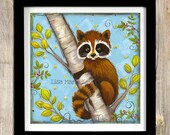 Raccoon Wall Art ~ Children's  Art Print ~ Woodland Creatures ~ Raccoon Decor ~ Cabin Decor ~ Forest Animals ~ Nursery Wall Art ~ Raccoon