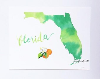 Florida watercolor state art print wall art home decor