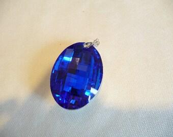 Oval Pendant, Cobalt Necklace, Cobalt blue, Blue, Huge, Crystal, statement necklace, Focal Bead, Pendant, oval, Faceted, big pendant,