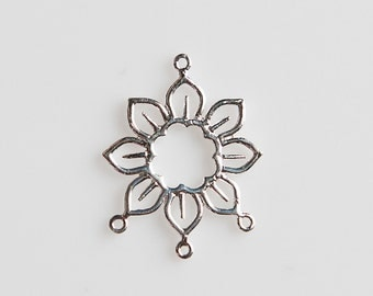 STORE CLOSING! CLEARANCE LQSS24 - Sterling Silver Flower Drop Pendant with 3 Loops