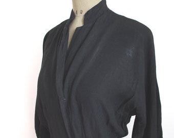 1950s DRESS // Black Crepe 50s Dress //
