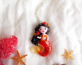Mermaid necklace. Red tailed mermaid with goldfishes. One of a kind.