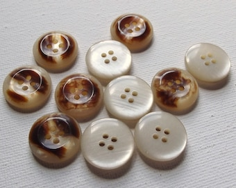 10 Vintage shiny tortoise shell brown buttons / mixed media / sewing / Craft supplies / Dressmaking / embellishment / repurpose / upcycle
