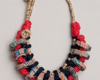 Fiber art chunky necklace in blue red and beige Statement necklace, OOAK chunky jewelry knitted with bamboo and textile beads