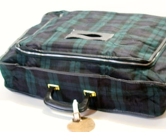 Vintage Navy Blue Green Tartan Plaid Soft Sided Collapsible Canvas Luggage Small Overnight Bag w/ zipper Suit Case Easy Storage Carry On