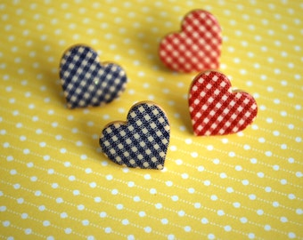 Heart Earrings -- Studs, Heart Studs, Red and Blue Hearts, 4th of July Earrings, Choose Your Color!