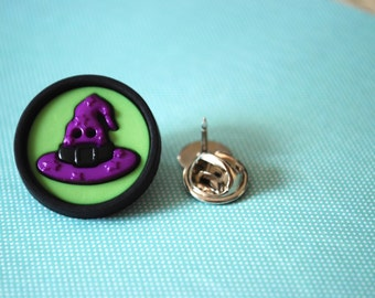 Witch Hat Pin -- Purple Witch Hat Brooch, Purple Witch Hat Pin, Halloween Pin, Purple Witch Hat