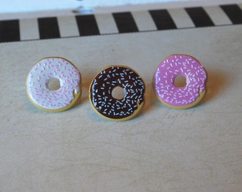 Donut Earrings -- Donuts, Donut Studs, Witty Earrings, Pick your favorite color!