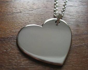 Plain Silver Heart Pendant Necklace
