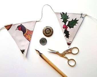 Christmas Bunting Cute Bunting Pheasant Bunting Paper Flags