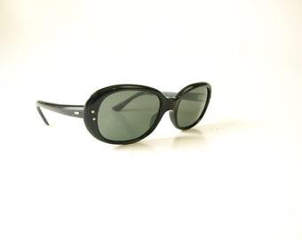 Vintage 50s 60s glamorous black oval women's sunglasses made in France