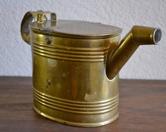 Charming Antique Brass Watering Can / Hot Water Pot Carrier / Shabby Chic Farmhouse Decor / Stamped / Early 1900s England / Gardening