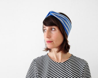 1 LEFT - The turban headband - handmade in soft cotton jersey fabric with printed stripes