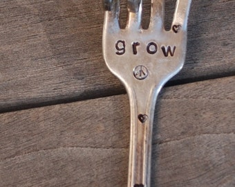 GROW hand stamped PEACE Sign Garden marker fork with Peace Sign stamp and Hearts Flower Pots Herbs House plants