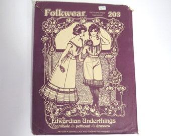 Lingerie Folkwear Pattern 203 Edwardian Underthings Size 6 - 16  Vintage 70's Sewing Uncut