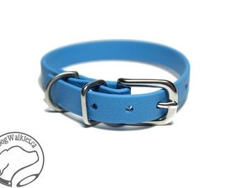 "NEW - Caribbean Blue Little Dog Collar - 1/2"" (12mm) Thin Beta Biothane Dog Collars - Waterproof Small Dog Collar"