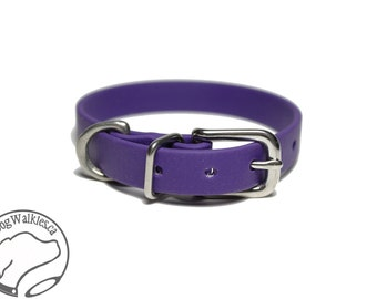 "Royal Purple Little Dog Collar - 1/2"" (12mm) Thin Beta Biothane Dog Collars - Waterproof Small Dog Collar"