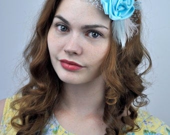 Mini Flower and Feather Hair Clip Fascinator in Pastel Blue