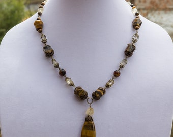 Adjustable Tiger Eye Teardrop Pendant Necklace with Citrine and Brass Accents 3666n