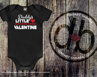Daddy's Little Valentine Baby Outfit - Valentine's Day Bodysuit or T-shirt - Baby Girls or Baby Boys Daddy's Little Valentine Shirt