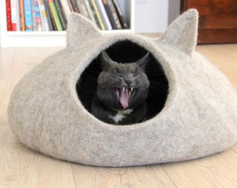 Pet Bed   Natural Beige Cat Bed   Cat Cave   Cat House   Made To