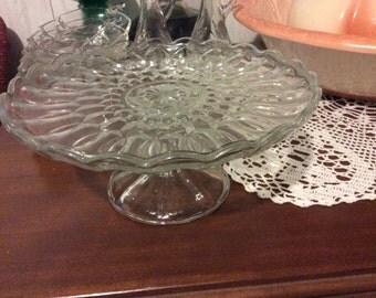 Glass Cake Plate, Pedestal, Vintage