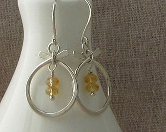 Modern Citrine Birthstone Earrings, November Birthstone Jewelry, Citrine Silver Earrings, E806