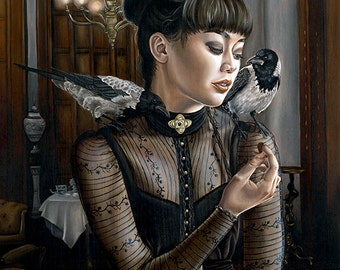 Super Limited Edition Surreal Girl with Hooded Crows Victorian Dress A3 Art Print