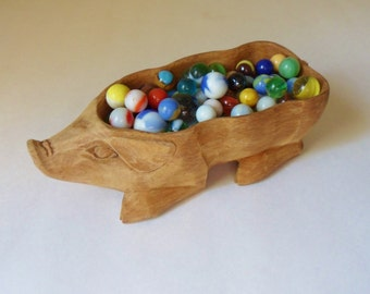 Hand Carved Pig Bowl, French Country Style Hog Serving Bowl