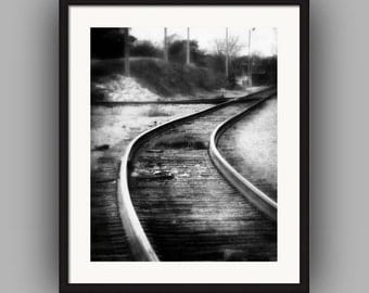 Train Tracks Railroad Tracks Switchyard Black and White Urban Industrial Landscape Dark Surreal Fine Art Photography Print