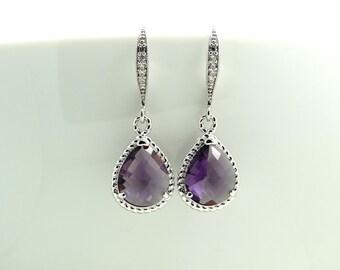 Purple Earrings Dangle Earrings Silver Earrings Teardrop Earrings Bridesmaids gift  Wedding Jewelry Plum Earrings Bridal Earrings