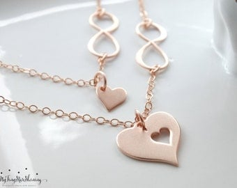 Mother daughter Necklace Rose Gold Mother daughter Necklace Infinity heart necklace Infinity Necklace Mothers Daughter Jewelry Necklace
