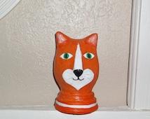 Paper Mache Orange Cat Portrait Sculpture