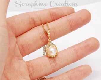 Gold Pearl Pendant Wedding Jewelry Bridal Necklace Swarovski Pearls Cubic Zirconia Wedding Necklace, Bridal Jewelry Bridal Astra W03G