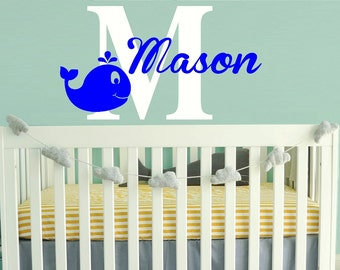Wall Decal Nursery baby boys  - whale name Monogram Wall Decal - boy Name Wall Decal - Childrens Wall Decal - Vinyl Wall decal - WD153