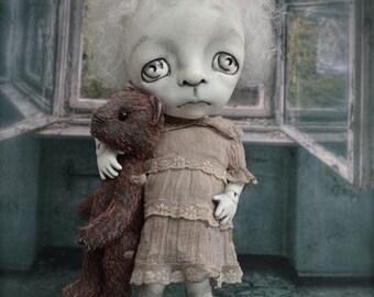 Giclee Fine Art Print. Dark Alley BJD Art Doll with a Bear.