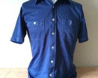 Vintage 1970s Butterfly Collar Navy Blue Polyester Shirt. Size Medium. Doubler Brand.