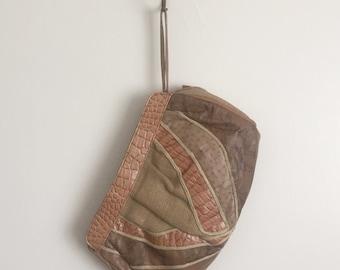 Vtg 70s Bohemian Dream Clutch • Burlap & Pleather Patchwork Wristlet Handbag