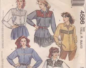 Western Style Blouse Pattern McCalls 4586 Sizes 6 - 10