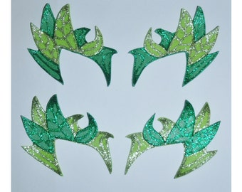 Poison Ivy Inspired Cosplay Costume Eyebrows / Mask - Green Glittery - 2 Tone FREE UK Delivery