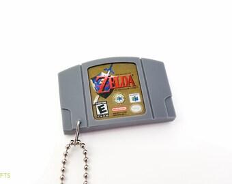 Legend of Zelda Ocarina of Time N64 Cartridge Keychain