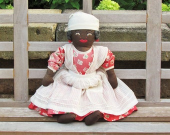 Vintage Mammy doll, c.1930's cloth doll with embroidered face, black Americana