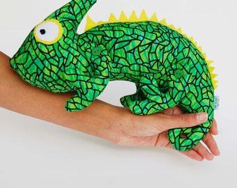 Chameleon, Plush Chameleon, Stuffed Chameleon, Iguana Plush, Lizard Stuffed Animal, Green Chameleon, Tropical Decor