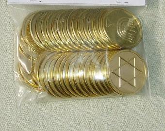 Star of David & Menorah Gold Plastic Coins - 36 pcs