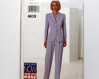 Uncut Sewing Pattern, Ladies Jacket Style Top and Pants, Sizes 12, 14, 16, Office Wear, Pant Suit, Butterick 4619