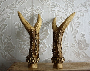 1 PAIR DEER HORNS Antlers Deer Resin Cabochon Taxidermy Animal Steampunk Gothic Goth Ivory 1 Pair Antiques or ivory for making headpiece