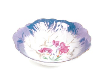 Vintage Pink Iris Bowl Lusterware Porcelain Hand Painted JAPAN Floral Design Serving Dish